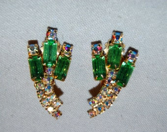 Juliana Earrings Rhinestone, Aurora Borealis Green, Vintage Old Jewelry