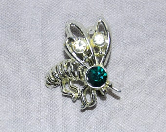 Vintage / Green / Clear / Brooch / Rhinestone / Bee / Wasp / Bug / Insect  / Emerald /  old / jewelry / jewellery