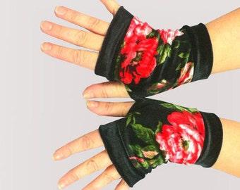 Short  fingerless gloves  velvet with red rose