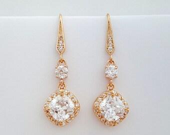 Wedding Earrings Rose Gold Crystal Drop Bridal Earrings Cubic Zirconia Rose Gold Dangle Earrings, Celia Earrings