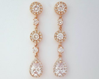 Rose Gold Earrings, Long Bridal Earrings, Crystal Drop Earrings, Pink Gold, Teardrop Earrings, Gold, Rose Gold Bridal Jewelry, Reagan