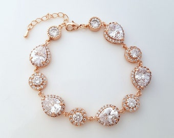 Rose Gold Bridal Bracelet, Wedding Jewelry, Wedding Bracelet, Cubic Zirconia Bracelet, Pink Gold Bracelet, Heba Bracelet