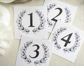 PRINTED Wedding Table Numbers Laurel Wreath - Style TN11 - Monogram Wreath COLLECTION