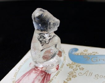 Vintage Clear Pressed Glass Bear , Miniature