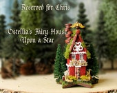 Reserved for Chris - Ostellia's Fairy House Upon a Star -Miniature Woodland Cottage with Mossy Roof, Pine Trees, Wildflowers & Fairy Parasol