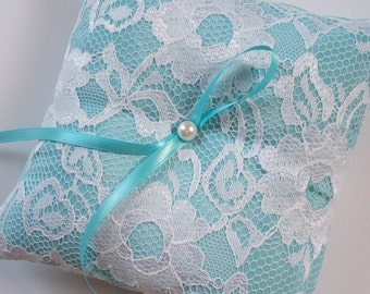 Wedding Ring Pillow, Aqua Pillow with Net Lace, Pearl Centered Satin Bow - The TIFFANY Pillow