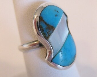 ON SALE Gorgeous Native American Inlaid Turquoise MOP Sterling Ring