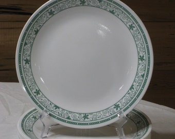"""Vintage Discontinued Corelle """"Green Winding Gate"""" Set of 11 - 10 1/4"""" Dinner Plates"""