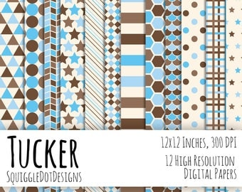 Digital Printable Paper for Cards, Crafts, Art and Scrapbooking Set of 12 - Tucker - Instant Download