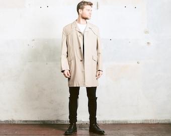 Men TRENCH Coat . Vintage 1980s BEIGE Belted Long Jacket Mens Topcoat Overcoat 80s Retro Rain Coat Raincoat Outerwear . Medium to Large