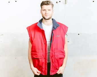 Vintage Red Gilet Vest . Mens 80's Sleeveless PUFFER Jacket Coat Hipster Outerwear . size XL Extra LArge