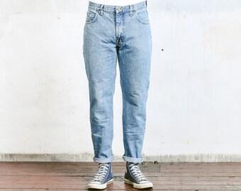 Blue LEE Jeans . Vintage Denim Straight Leg Jeans High Waisted Boyfriend Jeans Relaxed Fit Men's Unisex W36 Distressed Jeans 80s Denim Jeans