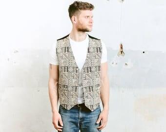 Vintage SOUTHWETSERN PRINT Vest . Mens Aztec Geometric Woven Vest Waistcoat Sleeveless Jacket 1980s . size Large