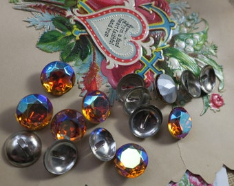 11mm Vintage Buttons Kit Titania round topaz Czech Rhinestone Button Silver Metal Shank DIY 1166A