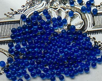 2mm Ballotini Balls,Vintage Sapphire Beads,Solid Glass Balls Eyes Solid Eyes No Hole Marbles, Solid beads,Turquoise beads,Italy #1709