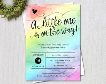 rainbow baby shower invitation fancy script gender neutral watercolor rainbow printable digital invitation