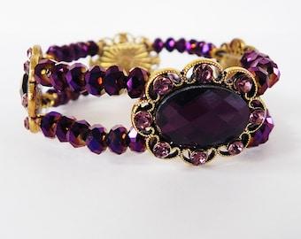 Bracelet Victorian Style Stretch Bracelet in Gold and Dark Purple Crystals