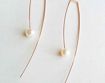 Rose Gold Floating Pearl Earrings, 6mm White Fresh Water Pearl, Arc Threader Earrings, Drop Earrings, Open Hoop Earring, Dangle Earring