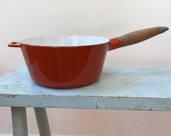 1960s Copco Enamel Cast Iron Sauce Pan Orange White Iconic Michael Lax Design Wonderful Midcentury Modern Kitchen Ware
