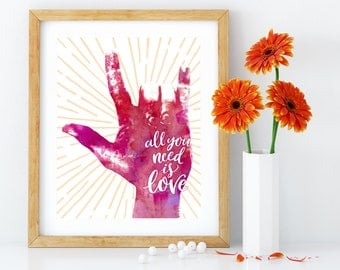 All you need is love: printable art, I love you, ASL, Deaf culture