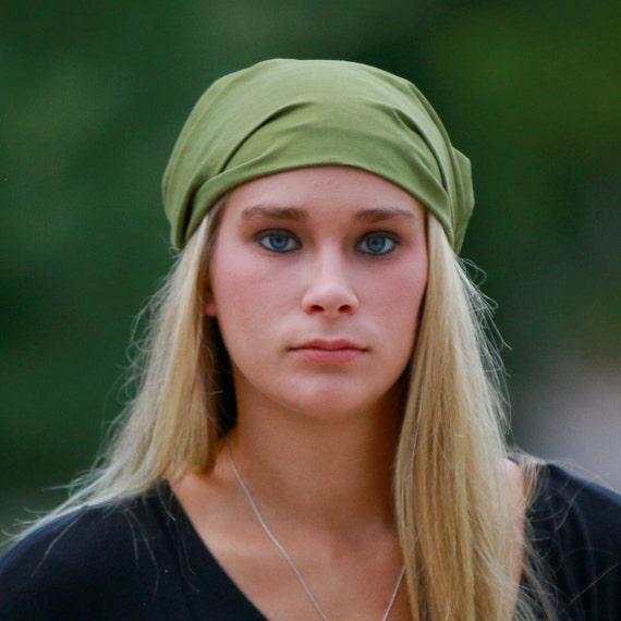 Hair Loss Head Wrap, Grass Green Head Wrap, Plain Head Wrap, Solid Green Headband, Olive Green Headscarf Modest (#2603) S M L X