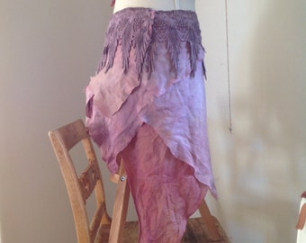 Purple haze pixie wrap skirt, hippie boho wrap skirt in organic design
