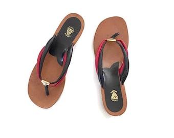Vintage Gucci Sandals / Size 36 / All Leather / Red Blue Flip Flops / wedge Heels