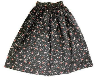 Vintage 1950's novelty skirt, Ballerinas, Cotton skirt, Pink Black Atomic, XS