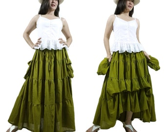 2 In 1 Take Me to Your Heart...Steampunk Short Front/ Long back Tiered Green Light Cotton Skirt With 2 Roomy Pockets