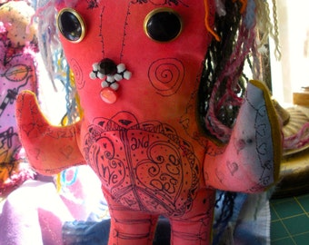 Peace Monster, Hippie Art Doll, One Of A Kind, Muse, Protector of Peace and Love, Stress Doll, Positive Chi, Feng Shui