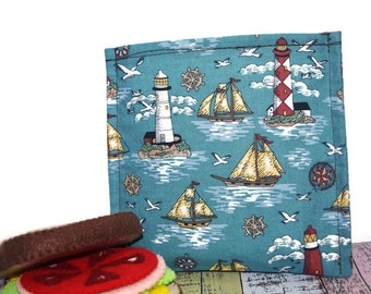 Reusable Sandwich Bag | Snack Bag | Eco Friendly | Waste Free Lunch Bag | Zero Waste | Lunch Bag | Nautical | Lighthouses | Sailboat | SALE