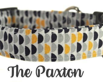 "Navy and Yellow Scallop Dog Collar ""The Paxton"""