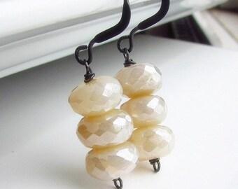 Vanilla Cream Chalcedony Earrings, Ivory Stone Earrings, Cream, Stacked Stone Earrings, Oxidized Sterling Silver Wire Wrapped, Cream Soda