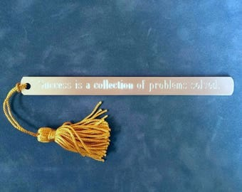 """Pewter Bookmark: """"Success is a collection of problems solved.""""  I. M. Pei"""
