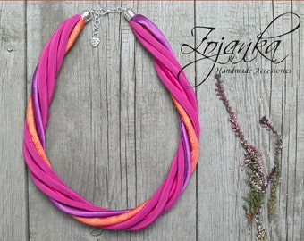 FUCHSIA necklace, statement necklace, upcycled necklace, COLORFUL jewelry, summer accessories, gift ideas
