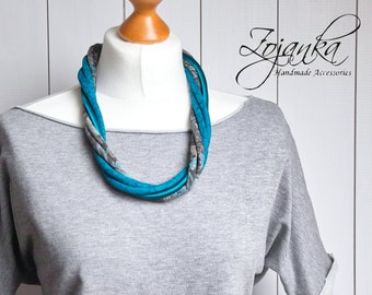 Textile necklace, statement necklace, FABRIC necklace, TEAL necklace, gift ideas, layered necklace, multistrand necklace, textile necklace