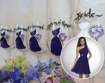 EXACT DRESS REPLICA, Bridesmaid Wine Glasses, Bridal Party Glassware, Bridal Party Wine Glasses, Purple Dresses, Personalized Wine Glasses
