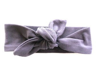 Dark Grey Baby Headband - Top Knot Headband - Stretch Headband - Vintage Style - Boho Baby Modern - Charcoal Pewter Gray