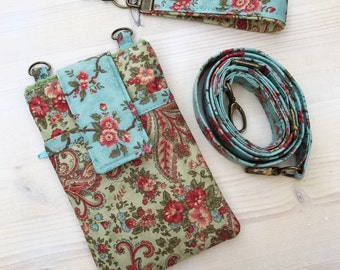 Vintage Phone Case Purse Wristlet Shoulder Strap  iPhone 4 5 6Plus 6s Samsung Galaxy Note Rose Olive Green Aqua Floral Paisley Made to Order