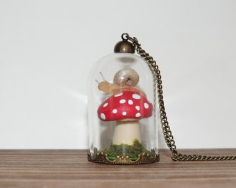 Super magical mystical thingamabob toadstool mushroom and snail terrarium dome necklace