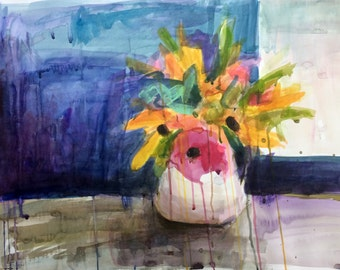 Wildflowers by the Window Original Still Life Floral Watercolor Painting by Angela Moulton 28 x 20 inch on Paper