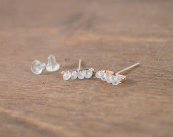 Moonstone Bar Stud Earrings 14k Rose Gold Fill
