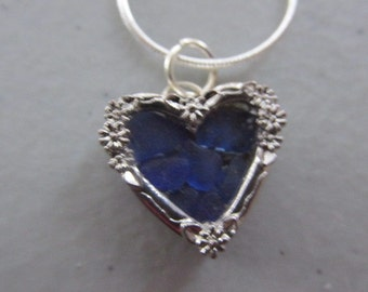 Heart Locket, Sea Glass Pendant Necklace, Blue Sea Glass Jewelry, Beach Glass Jewelry
