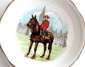 Canadian Mountie Dish, Small Royal Albert Canadian Mountie Bone China Pin Dish Bonbon Candy Dish, Mountie Ring Keeper, Canadian Tea Bag Dish