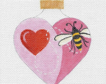 Heart and Bee Valentine - Heart shaped Needlepoint Ornament - Jody Designs   H6