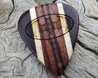 Handmade Multi-Wood guitar Pick - Premium Quality - Laser Engraved On Each Side - Actual Pick Shown - Artisan Guitar Pick - Batman Tribute