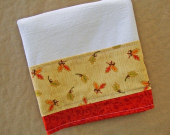 AUTUMN FALL Flour Sack Towel - Fall Leaves Kitchen Dish Towel - Lint Free Tea Towels - Fabric Trimmed Towel - Embellished Towel