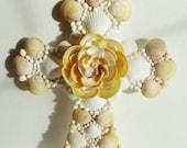 Seashell Cross, Yellow Cross, Crucifix, Confirmation, 9 x 12 inches