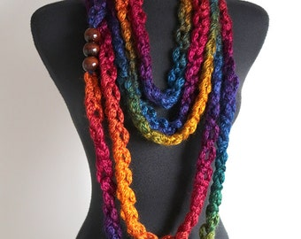 Rainbow Colors Statement Knitted Chunky Cords Chains Lariat Bib Necklace with Wooden Beads