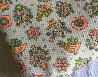 Vintage 1960's Cotton Print Fabric Birds Flowers